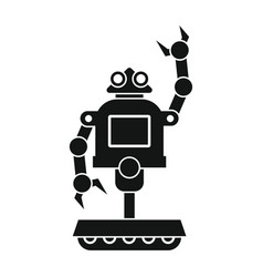 funny robot in black flat silhouette style vector image