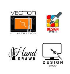 icons for graphic design or designer studio vector image