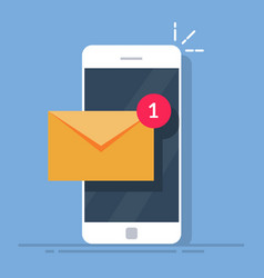notification of a new email on your mobile phone vector image vector image