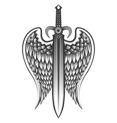 sword with wings tattoo vector image vector image