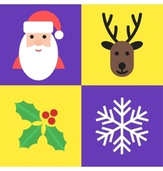 Christmas holiday symbols - santa deer holly and vector image