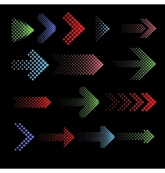 Color dotted arrow icons with halftone vector image vector image