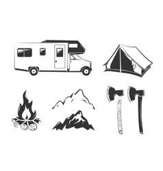 elements for summer camp outdoors vintage vector image