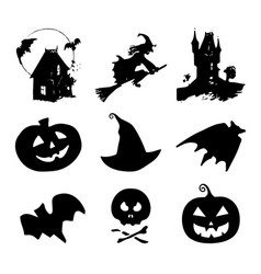 halloween icons signs of vector image