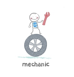 mechanic holds the key and stands on the wheel vector image