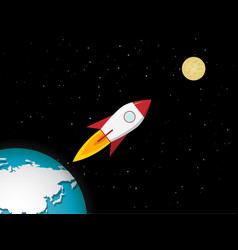 rocket go to the moon from earth vector image vector image