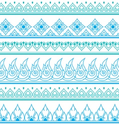 Seamless blue Thai pattern repetitive design vector image vector image