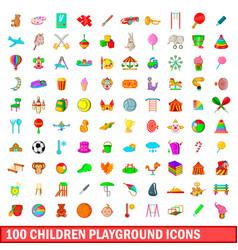 100 children playground icons set cartoon style vector image