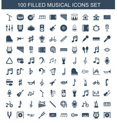 100 musical icons vector