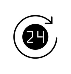 24 hours with arrow roun icon vector image