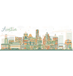 Abstract austin skyline with color buildings vector