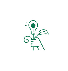 Abstract green energy icon hand holds eco bulb vector