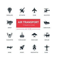 Air transport - flat design style icons set vector