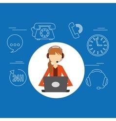 avatar girl orange jacket contact us information vector image