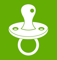 Baby pacifier icon green vector