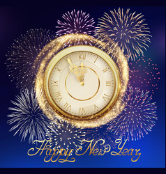 Background with fireworks and clock vector