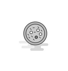 Bacteria on plate web icon flat line filled gray vector