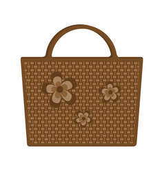 bag beach wicker decorated flowers isolated on vector image