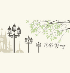 banner with spring city landscape and inscription vector image