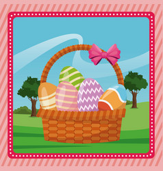 Basket egg easter celebration pink background vector