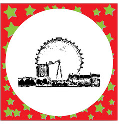Black 8-bit the london eye on the south bank of vector