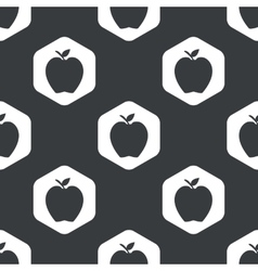 Black hexagon apple pattern vector