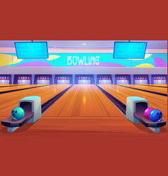 Bowling alleys with balls pins and scoreboards vector
