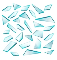 Broken glass shards isolated on white set vector