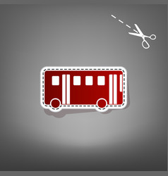 bus simple sign red icon with vector image