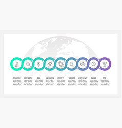 Business process timeline infographics with 9 vector