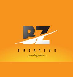 Bz b z letter modern logo design with yellow vector