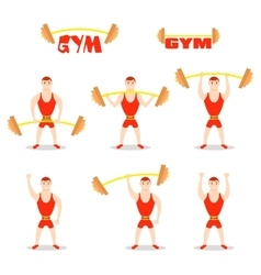 Cartoon man barbell exercises squat deadlift vector
