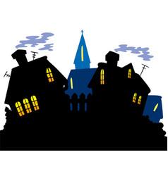 Cartoon village skyline vector