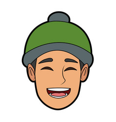 character man face happy smile cartoon vector image