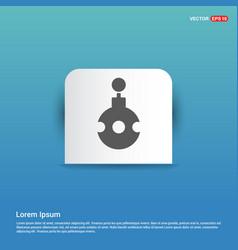 christmas ball icon - blue sticker button vector image