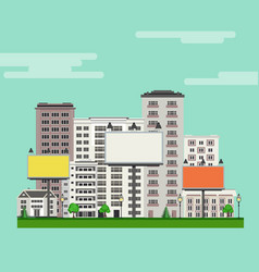 City skyline with multistorey apartment and office vector