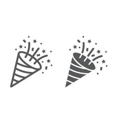 Confetti popper line and glyph icon party vector