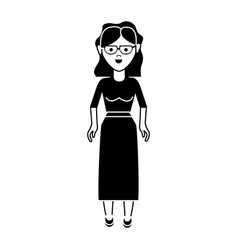 Contour nice woman with glasses blouse and long vector