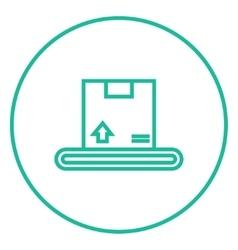 Conveyor belt for parcels line icon vector image