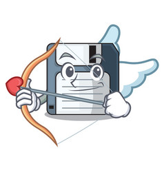 Cupid cartoon shape in the floppy disk vector