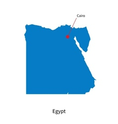 Detailed map of Egypt and capital city Cairo vector
