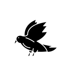 dove black icon sign on isolated vector image