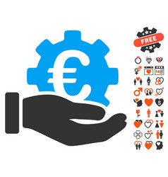 Euro development service hand icon with valentine vector