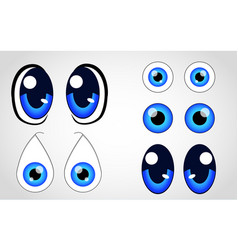 eyes cartoon face set vector image