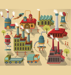factory - buildings and workers vector image