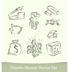 Finance doodle set isolated on white background vector