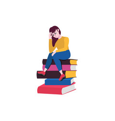 Flat adult caucasian woman at books vector