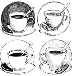 four sketch of teacups and lemon slice vector image