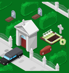 funeral and cemetery isometric vector image