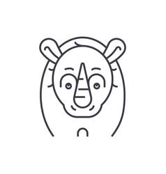 funny rhino line icon concept funny rhino vector image
